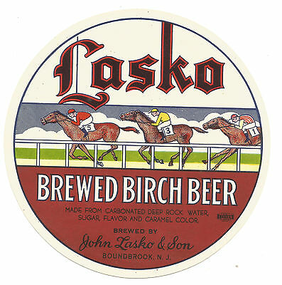 Vintage Label Lasko Brewed Birch Beer Horse Racing Motif