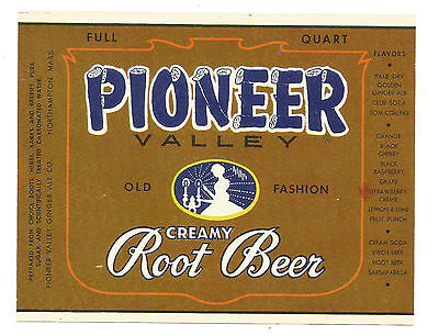 Pioneer Valley Root Beer Label Northhampton Mass.