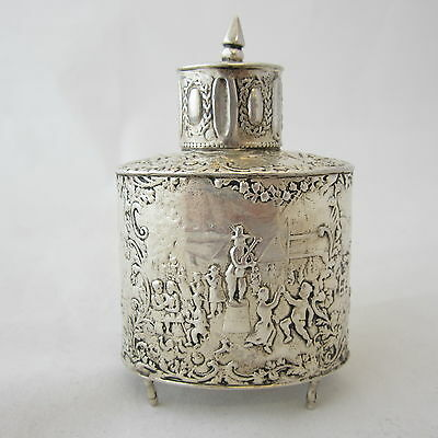 Antique Dutch Holland .833 Sterling Silver Footed Box Bottle w/Lid Repousse 58g