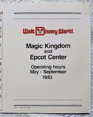 Rare 1983 Disney Wdw Magic Kingdom Epcot 5 Month Cast Pocket Operating Calendar