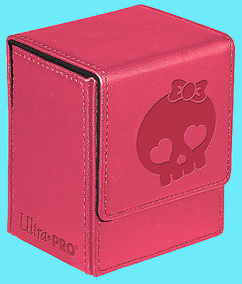 ULTRA PRO PINK CUTEY SKULL Leatherette FLIP DECK BOX Card Storage Case magnetic