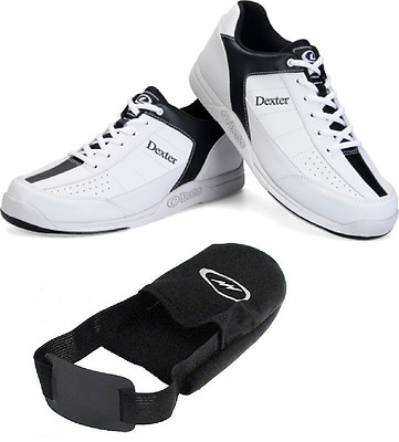 Mens Dexter Ricky III Bowling Shoes White/Black & Storm Shoe Slider Sizes 8 - 13