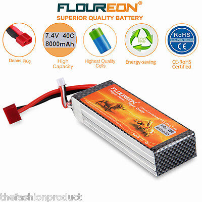 2S 7.4V 8000mAh 40C LiPo Battery Pack Deans for RC Car Airplane Helicopter Hobby
