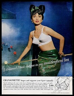 1963 Maidenform Bra woman playing pool snooker photo vintage print ad