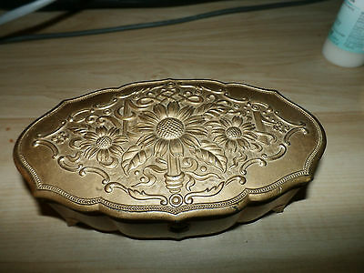 Vintage Floral Made in Occupied Japan Metal Trinket Box Jewelry Ring Box