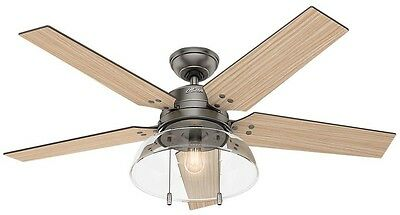 52 in LED Indoor/Outdoor Brushed Slate Quiet Ceiling Fan Rustic Light Pull Chain