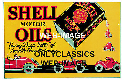 1923 Shell Motor Oil Gas Station Advertising Poster Auto Car Automobilia Old Can
