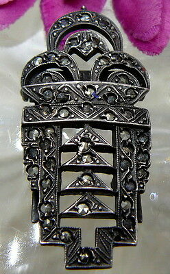 Art Deco Victorian Sterling Silver Sparkling Marcasite Ornate Dress Fur Clip Wow