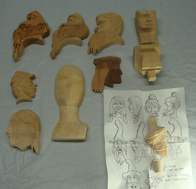 Lot Of 10 Wood Carving Blanks Cut Outs Heads Started Not Finished