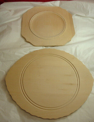 Wood Carving Blank Lot Of 2 Plates Oval Square Wood Burning Started Not Finished