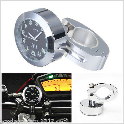 Silver Shell 7/8'' 1'' 22mm Motorcycle ATV Bike Handlebar Mount Dial Clock Meter