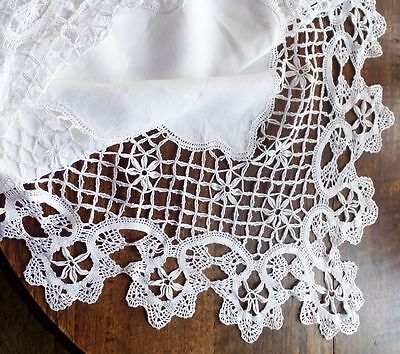 Exquisite White LINEN & CROCHET LACE Square Tablecloth - Vintage Heirloom