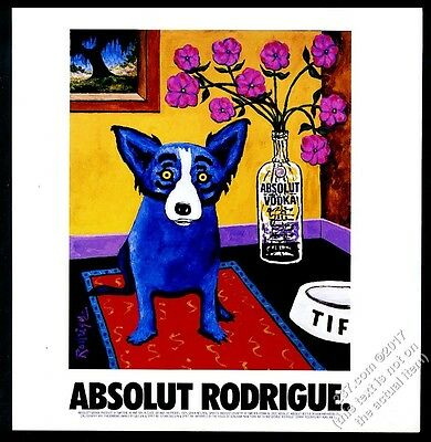 1999 Absolut Rodrigue blue dog vodka bottle George Rodrigue art thicker print ad