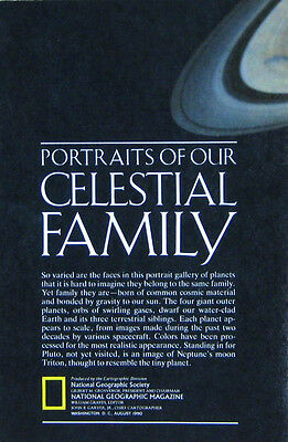 Vintage National Geographic Map Poster Portraits of Our Celestial Family 1990