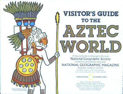 Vintage National Geographic Map Poster Visitor's Guide to the Aztec World 1980