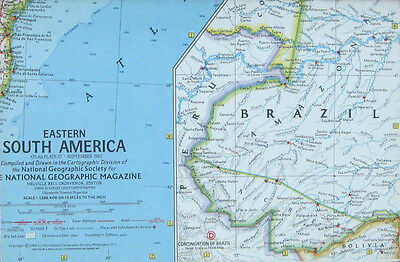 Vintage National Geographic Map Poster Eastern South America 1962