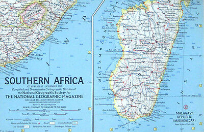 Vintage National Geographic Map Poster Southern Africa 1962