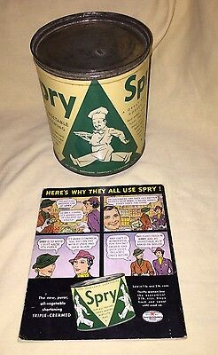 Vintage SPRY Brand Tin Shortening Lard Can 1930-40's - Collectible Advertising