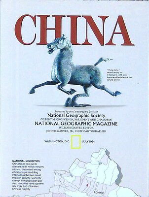 Vintage National Geographic Map Poster China 1991