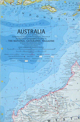 Vintage National Geographic Map Poster Australia 1963
