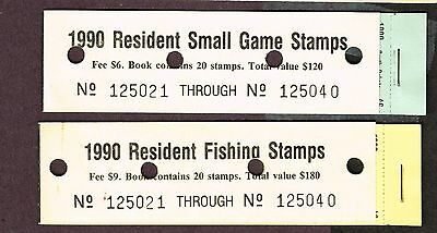 Usa South Dakota Fishing Small Game Stamps 1990 Full Booklets Vf Mnh  (Ber23