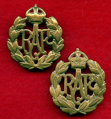 2 Of WW2 Great Britain Royal Air Force Cap Badges