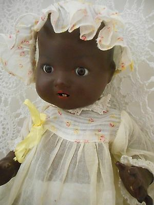Black Composition and Bisque Head BND Baby Doll 14 inchs