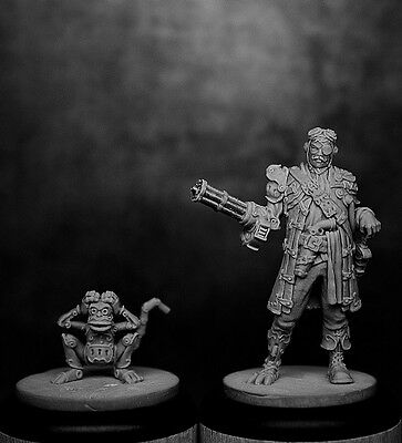 CAPTAIN C. BABYLAS & CLOCKWORK MONKEY 35mm Scale RESIN Black Sun Miniatures