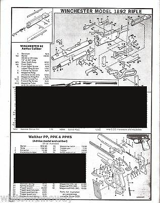 1983 WINCHESTER Model 1892 RIFLE Schematic Exploded View Parts List AD