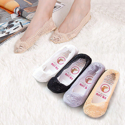 Hot Women Invisible No Show Nonslip Loafer Lace Boat Liner Low Cut Cotton Socks
