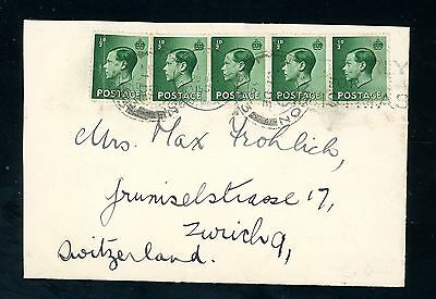 1936  Edward VIII  Cover  5 x 1/2d Values to Switzerland  (Jy068)