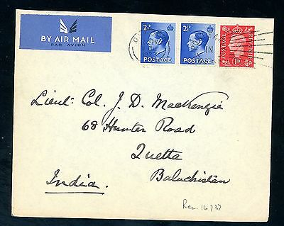 1937  Edward VIII  Cover (2 1/2d Values x 2)  to India  (Jy067)
