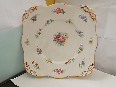 1947 +  Square Bread Plate By Tuscan China [ Plants] In Bouquet Pattern