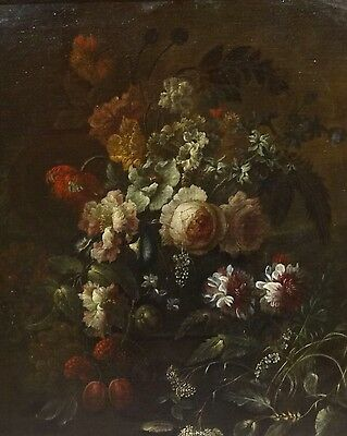 Fine Large 17th Century Dutch Old Master Still Life Flowers Antique Oil Painting