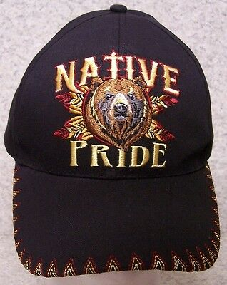 EMBROIDERED BASEBALL CAP Native Pride Bear NEW 1 hat size fits all ... 51d3690bdbc