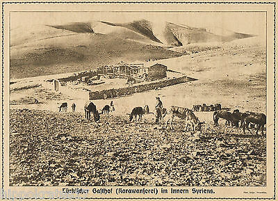 Syrien türkischer Gasthof 1916 WW1 Turkish inn Syria antique print (32)