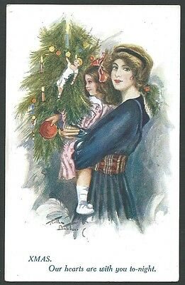 Christmas Xmas Greetings Our Hearts Vintage Inter Art Printed Postcard