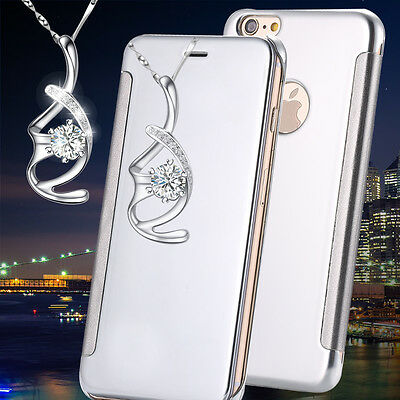 Luxury Mirror View Glossy Reflective Flip Silver Case For iphone 7 Plus {ZG334