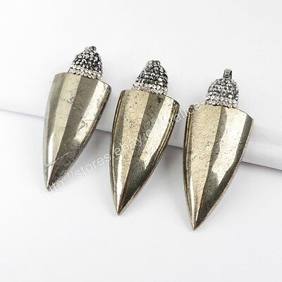 HOT! CZ Paved Cap Arrowhead Natural Iron Gall Stone Pyrite Pendant DIY HJA655