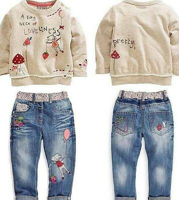 2X Fashion lovely Kids Baby Girls Toddler tops + Denim pants Clothes Outfits SP