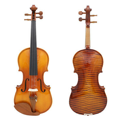 Full Size 4/4 Natural Acoustic Solid Wood Spruce Flame Maple Veneer Violin Gift