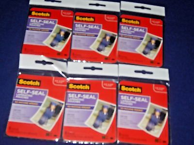 "6 packS of 5 - (30) Scotch Self Seal Laminating 2.5"" by 3.5"" pouches NEW SEALED"