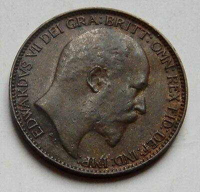 Farthing Edward VII 1910 EF Orginal Black Tone Scarce