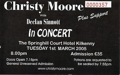 Christy Moore  Concert Gig Ticket 2005 With Declan Sinnott Gig Ticket Rare Gem!