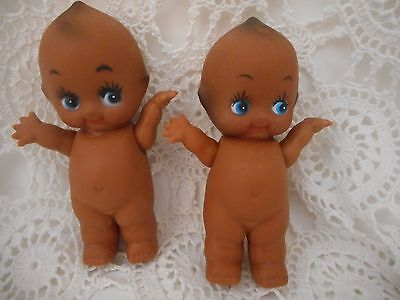 Pair Of vintage Vinyl Brown Kewpie Dolls