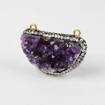 1Pcs CZ Paved Half Moon Raw Natural Amethyst Druzy Gold Plated Connector HJA593