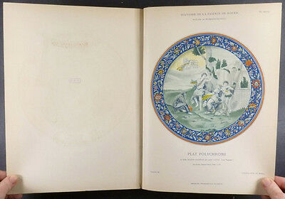 Antique French Pottery Faience of Rouen - Great 1870 Color Plate Book