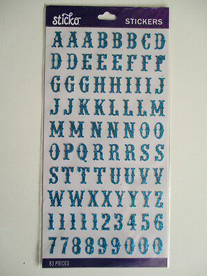 STICKO STICKERS - CARNIVAL TEAL BLUE GLITTER ABC alpha 83 pce