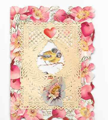 Antique Vintage Valentine Sweet Pea Flowers Cherub Greeting Card