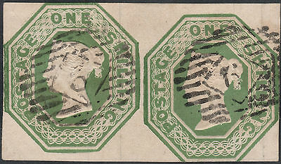 1847/54 SG55 1s GREEN EMBOSSED CUT SQUARE LONDON INLAND CANCEL FINE USED PAIR